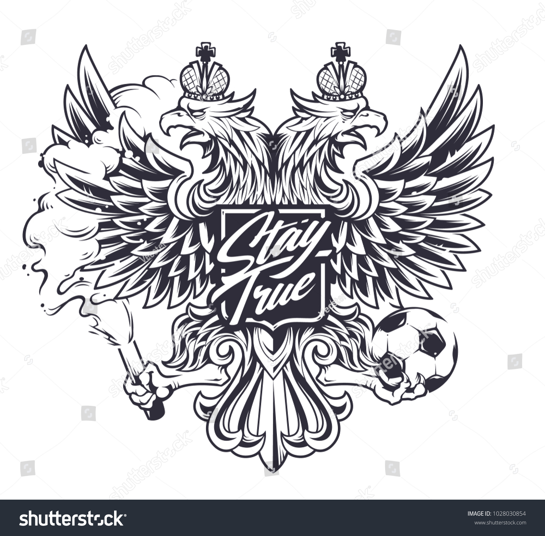Russian National Symbol Twoheaded Eagle Football Stock Vector