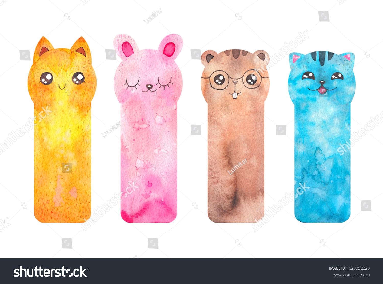 printable bookmarks cute cartoon animals fox stock illustration
