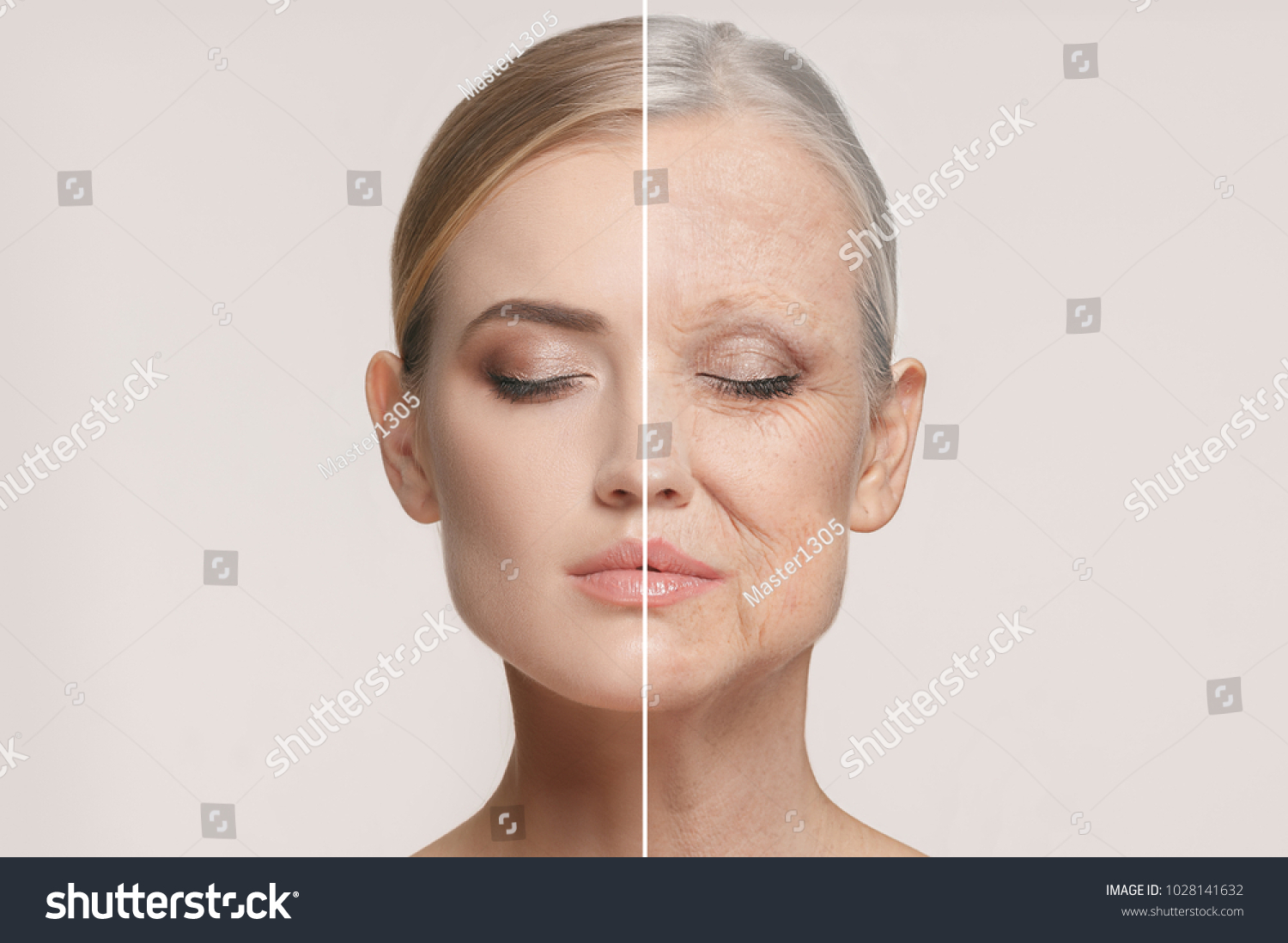 Comparison. Portrait of beautiful woman with problem and clean skin, aging and youth concept, beauty treatment and lifting. Before and after concept. Youth, old age. Process of aging and rejuvenation #1028141632