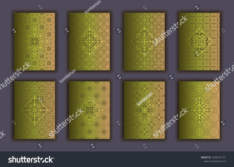 Card Set Mosaic Lace Decorative Elements Stock Photo (Photo, Vector ...