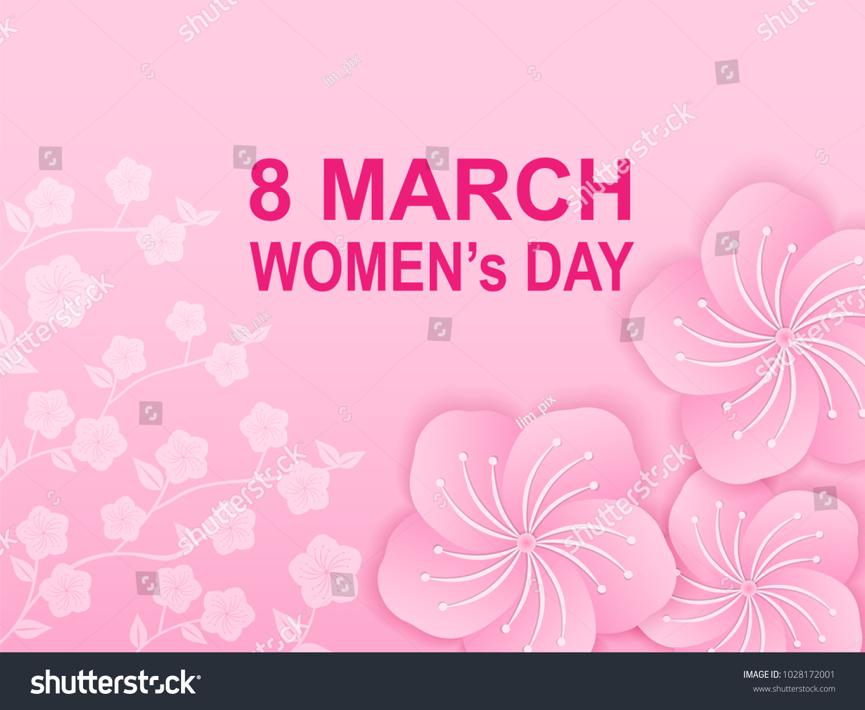 Card Design Women Day Paper Art Stock Vector 1028172001 Shutterstock