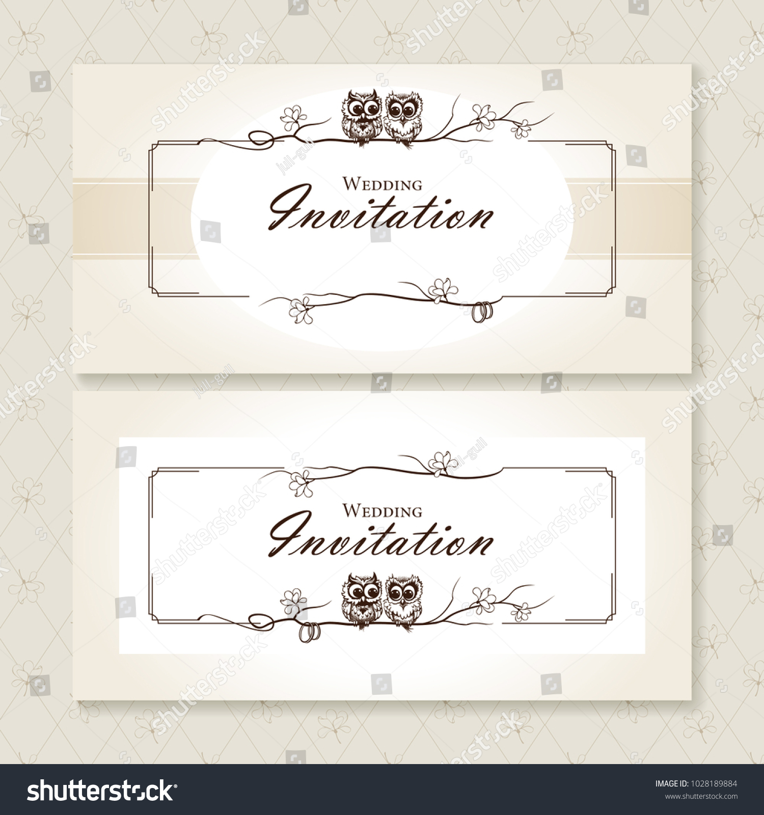 Wedding Invitation Card Cute Owls Thin Stock Vector Royalty Free