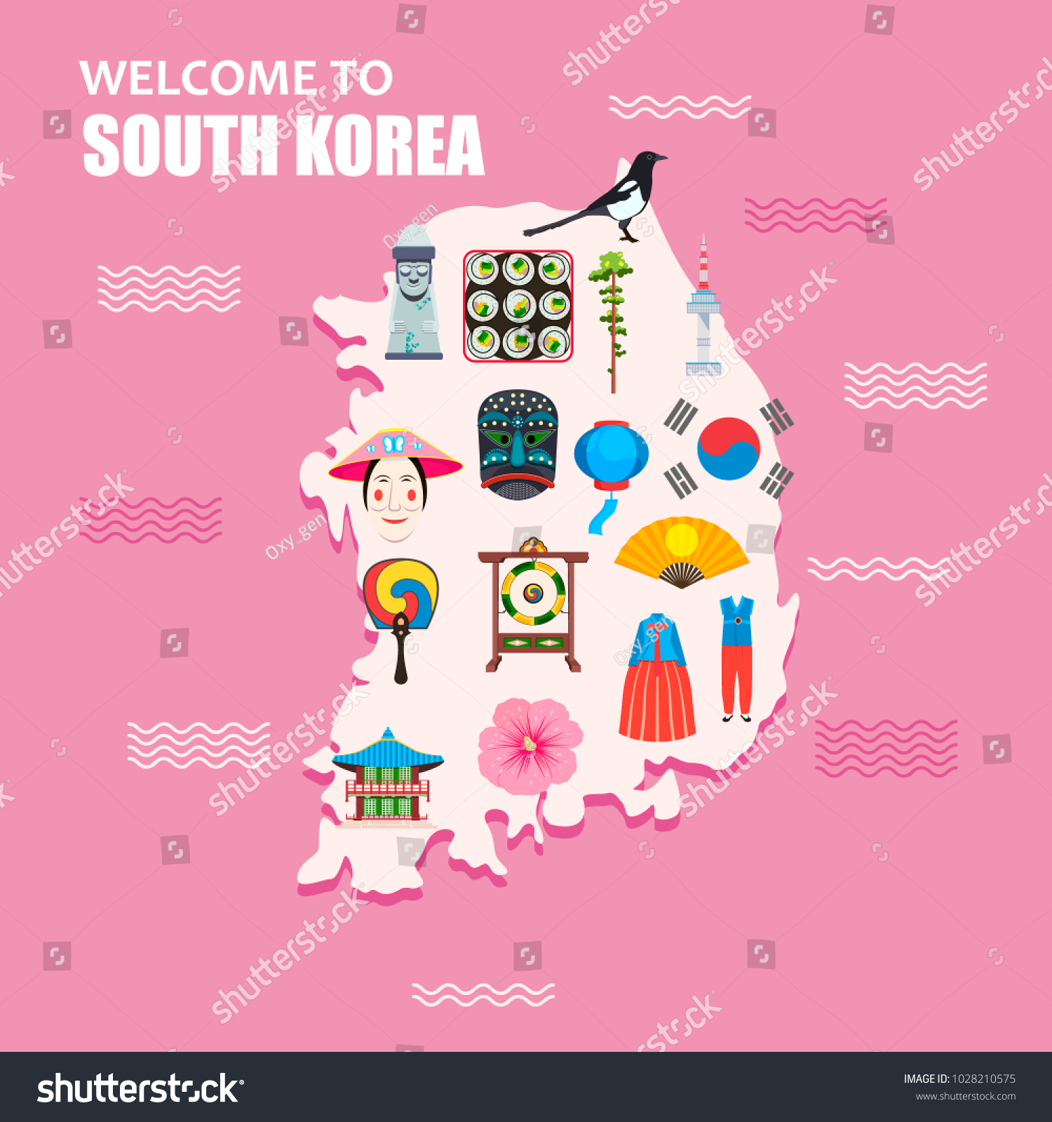 Welcome South Korea Concept South Korean Stock Vector 1028210575