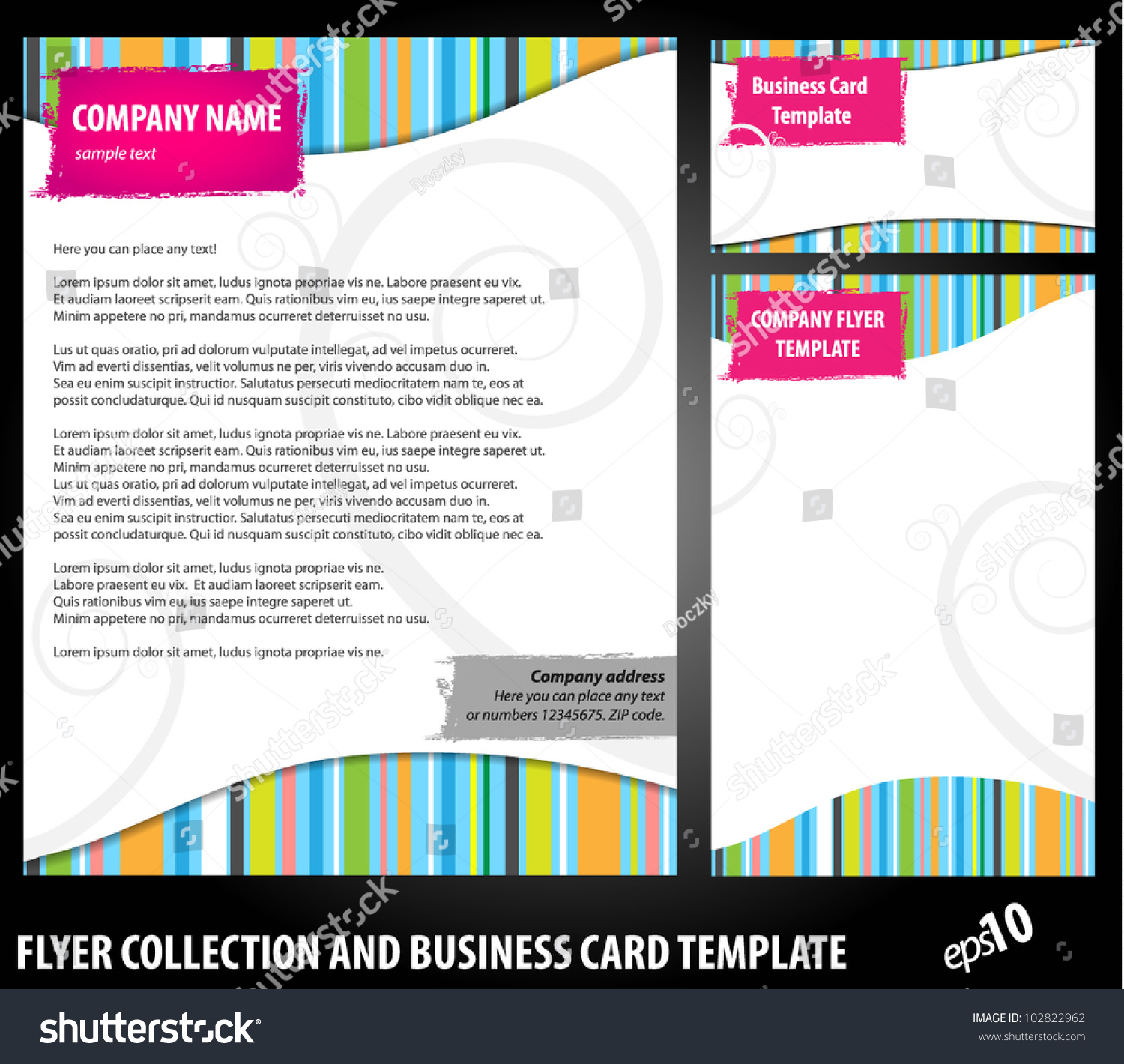 colorful vector flayer design business card stock vector