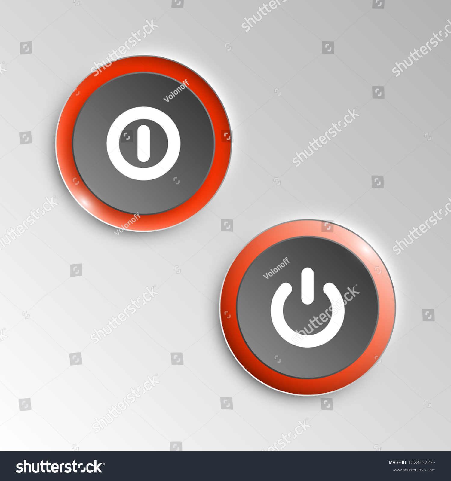Web Round Button On Off Mark Stock Vector Royalty Free 1028252233