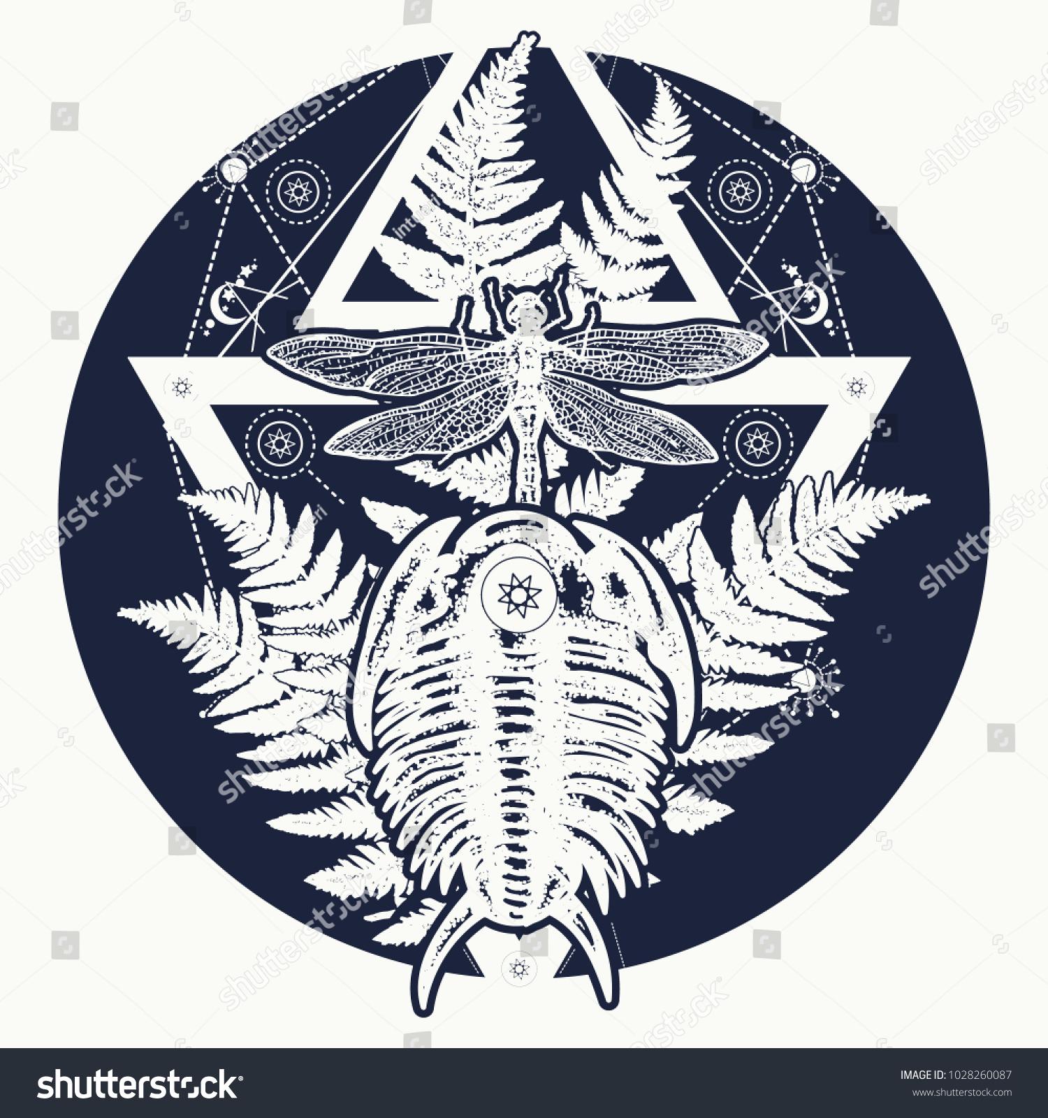 Prehistoric tattoo art symbol paleontology science stock vector prehistoric tattoo art symbol of paleontology science education trilobites dragonfly and biocorpaavc
