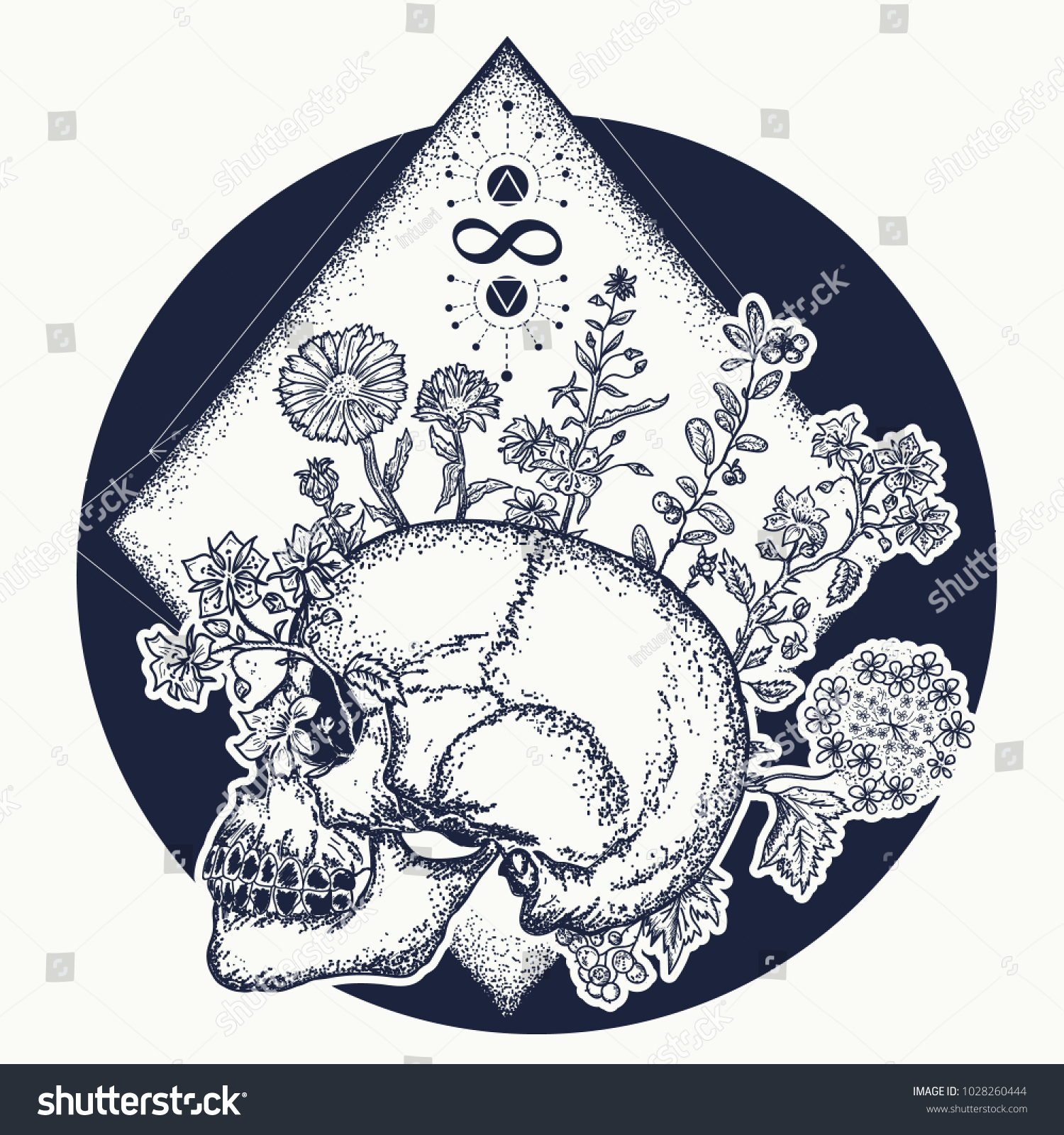 Human Skull Through Which Flowers Symbol Stock Vector Royalty Free
