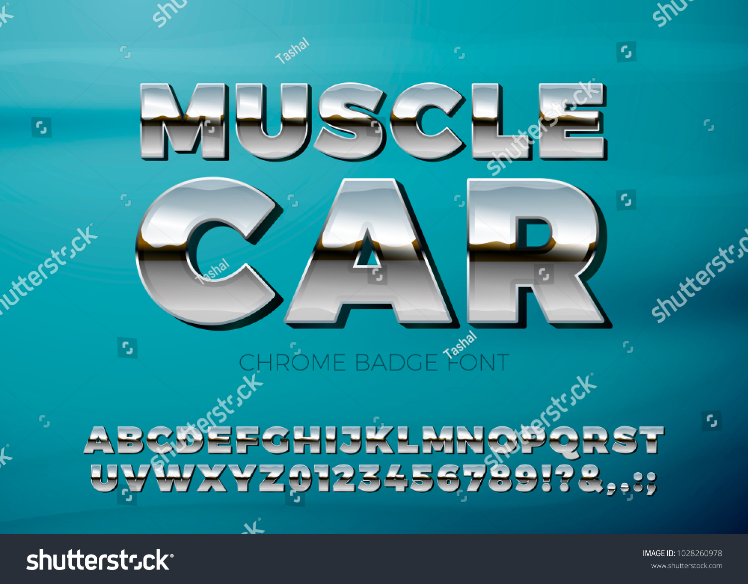 Vector Realistic Chrome Muscle Car Font Stock Vector Royalty Free