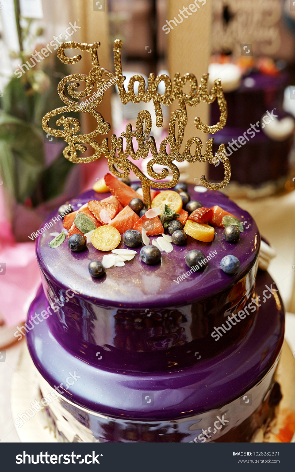 Purple Happy Birthday Cake Golden Letters Stock Photo Royalty Free