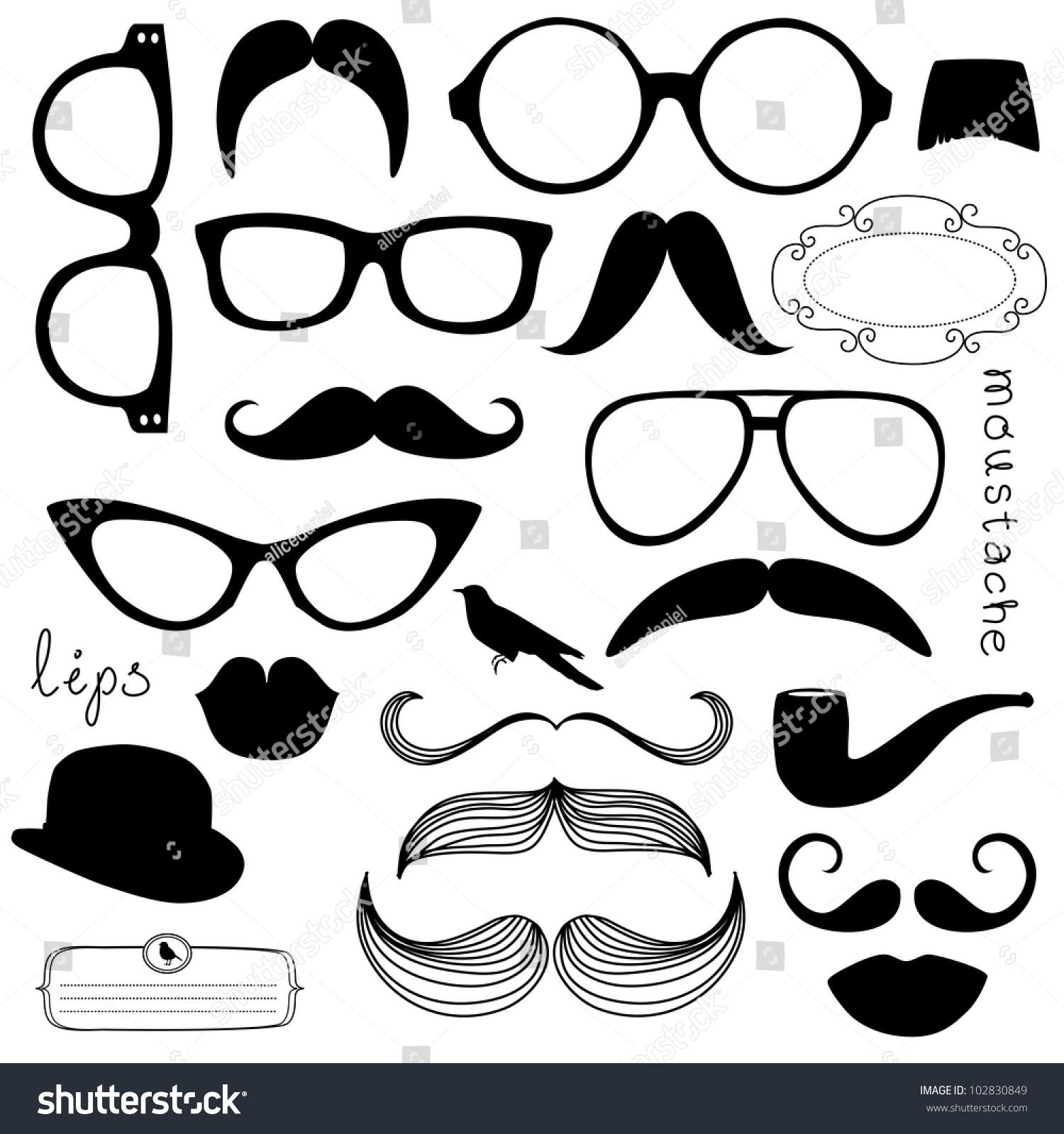 Retro Party set Sunglasses lips mustaches