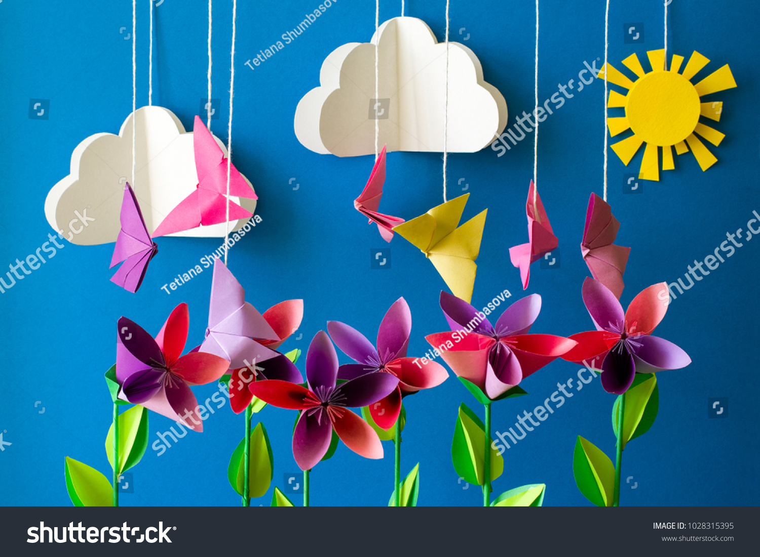 Origami Paper Flowers Butterflies Clouds Sun Stock Photo Edit Now