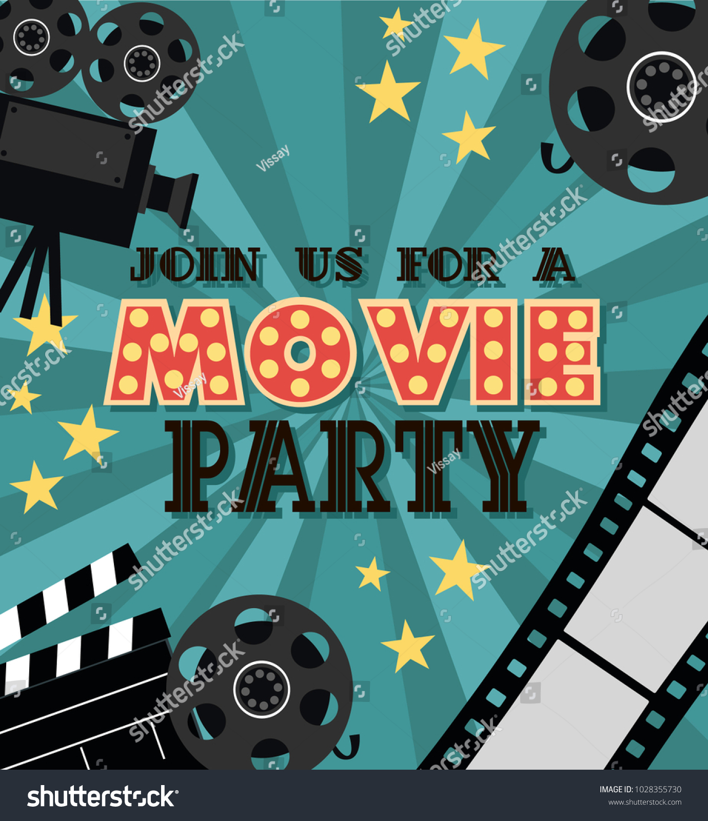 Invitation movie party hollywood party poster stock vector hd invitation for movie party hollywood party poster cinema poster vector illustration stopboris Gallery