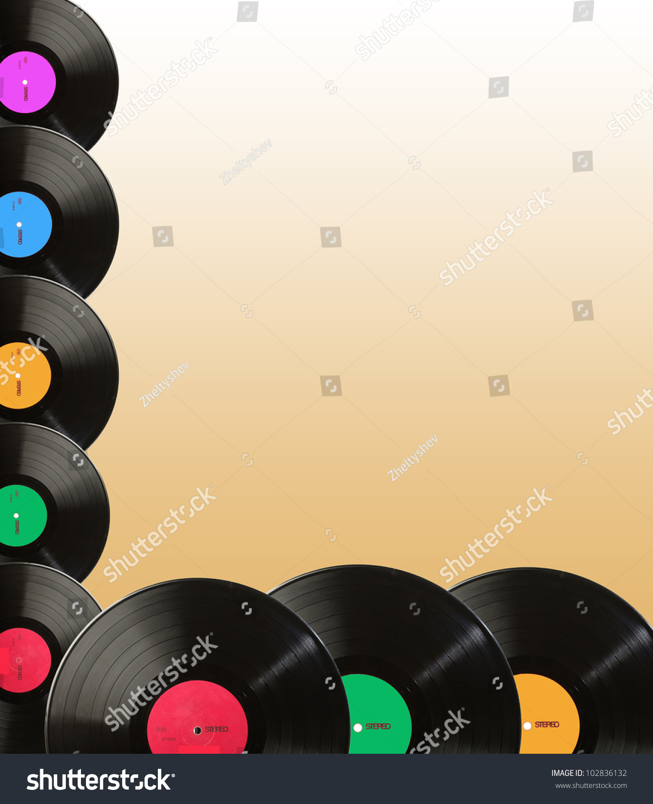 Music Colorful Background Made Vintage Vinyl Stock Photo (Edit Now