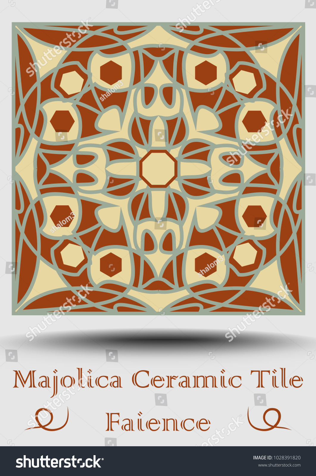 Faience tile decorative ceramic tile beige stock vector 1028391820 faience tile decorative ceramic tile in beige olive green and red terracotta vintage dailygadgetfo Images
