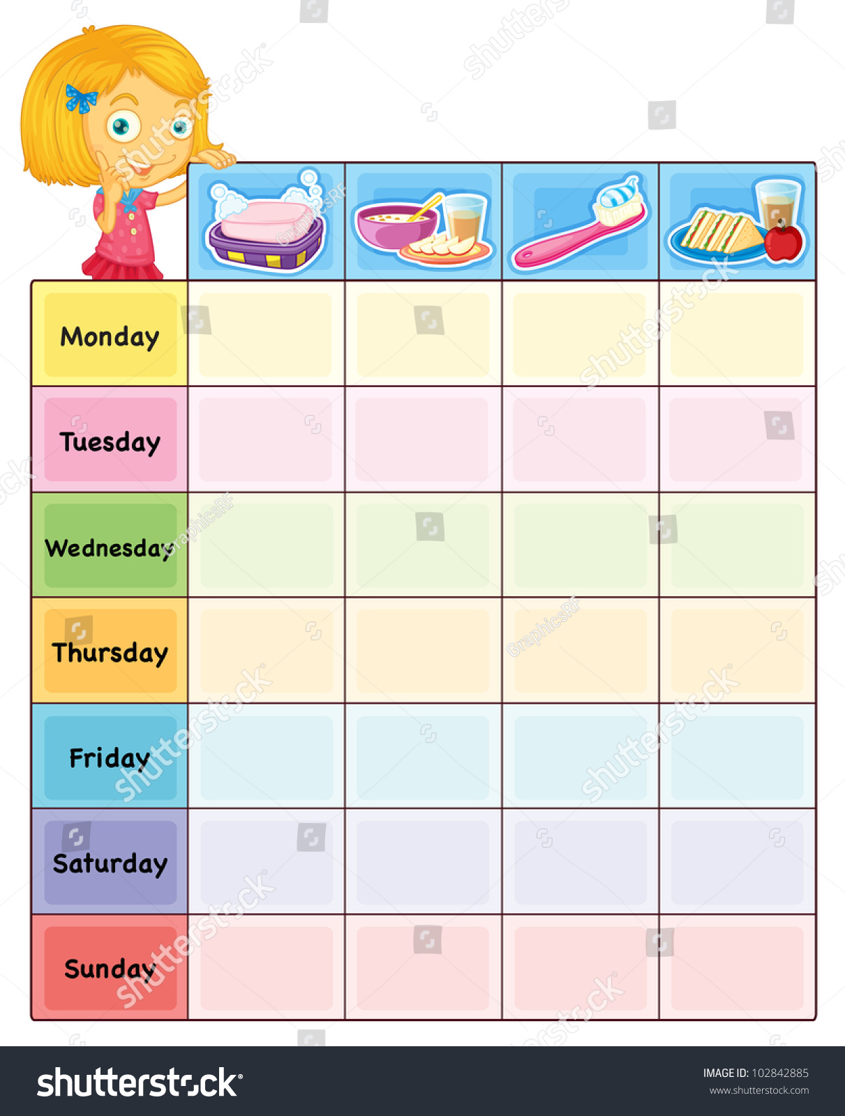 Illustration Daily Routine Chart Eps Vector Stock Illustration ...