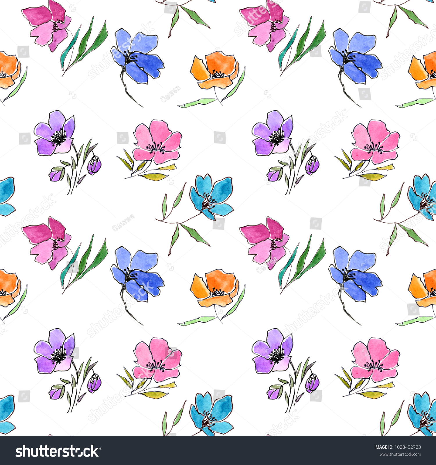 Seamless Floral Pattern Watercolor Flowers Floral Stock