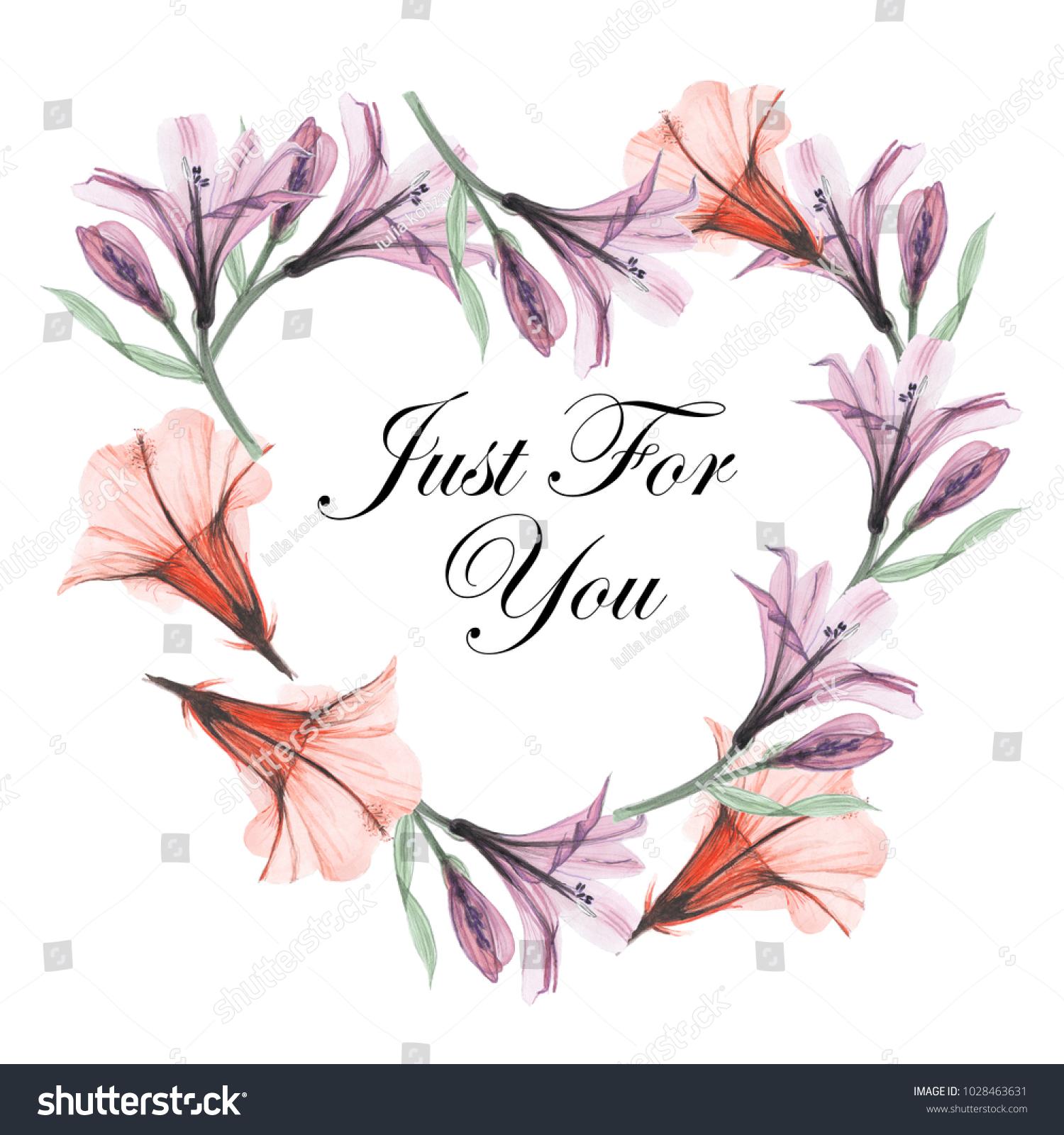 Greeting Card Floral Frames Beautiful Design Stock Illustration