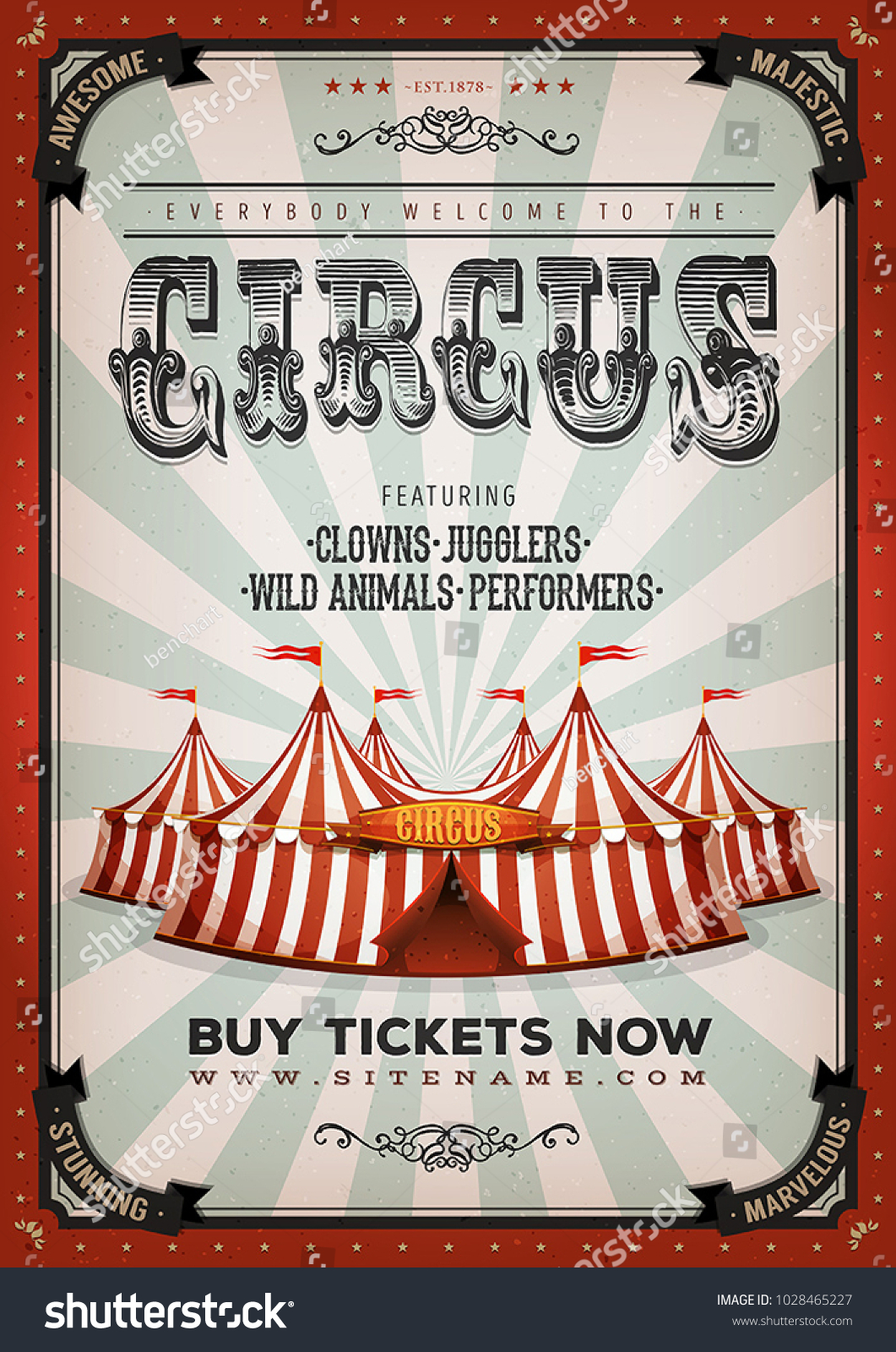 Vintage Circus Background Illustration Retro Vintage Stock ...