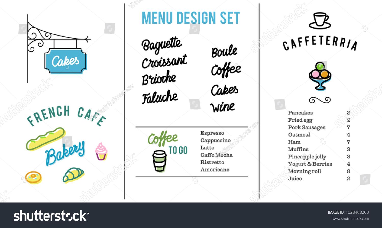 set design elements european cafebakery menu stock vector (royalty
