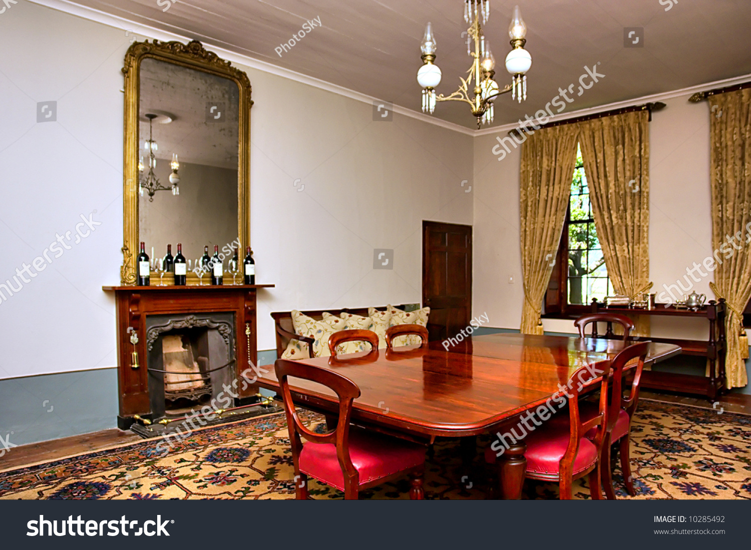 Antique dining room with big table and chairs. Shot in a wine farm between Stellenbosch & Antique Dining Room Big Table Chairs Stock Photo (Royalty Free ...