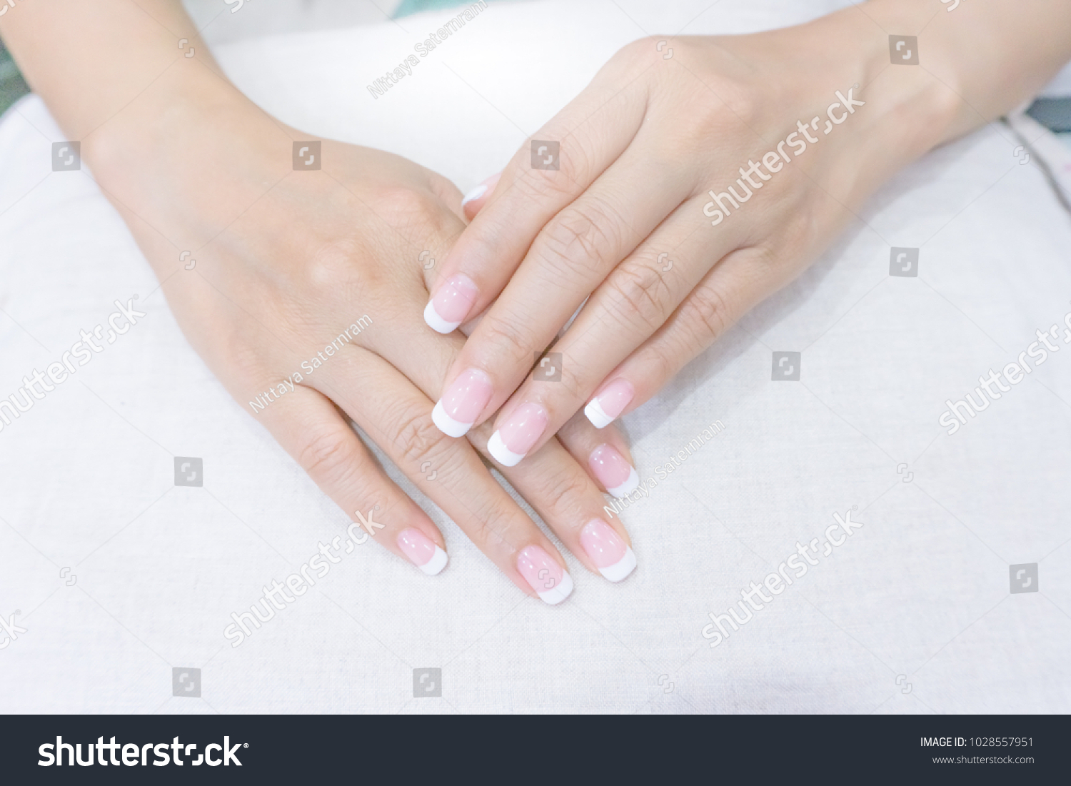 Classic White French Nail Style On Stock Photo (Royalty Free ...