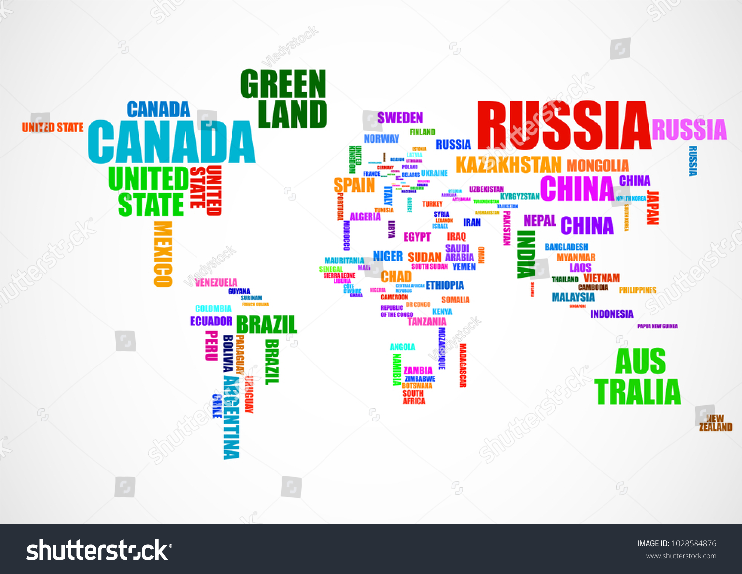 Typography colorful world map country names stock vector 1028584876 typography colorful world map with country names vector gumiabroncs Gallery