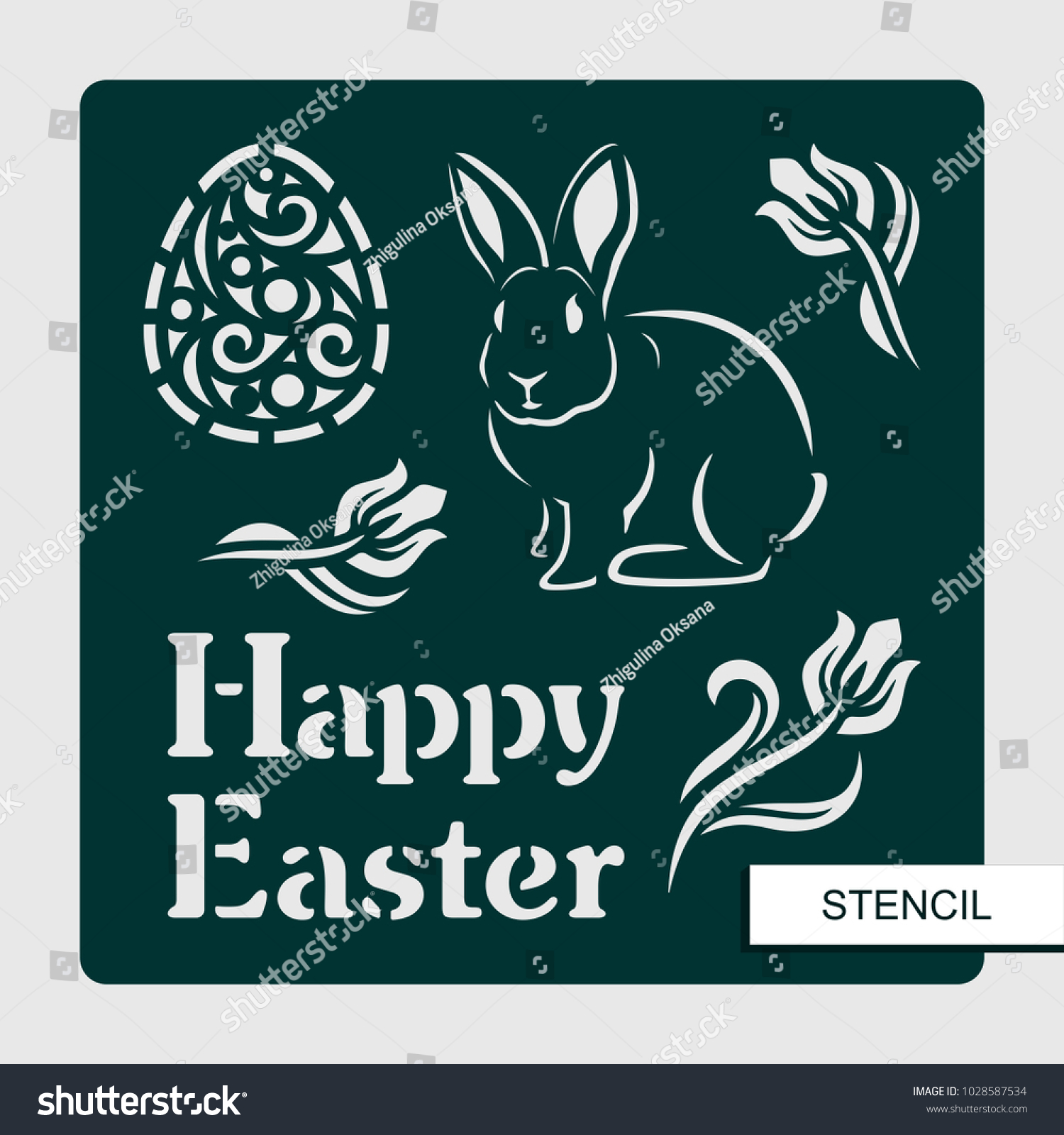 stencil happy easter rabbit egg tulips stock vector royalty free