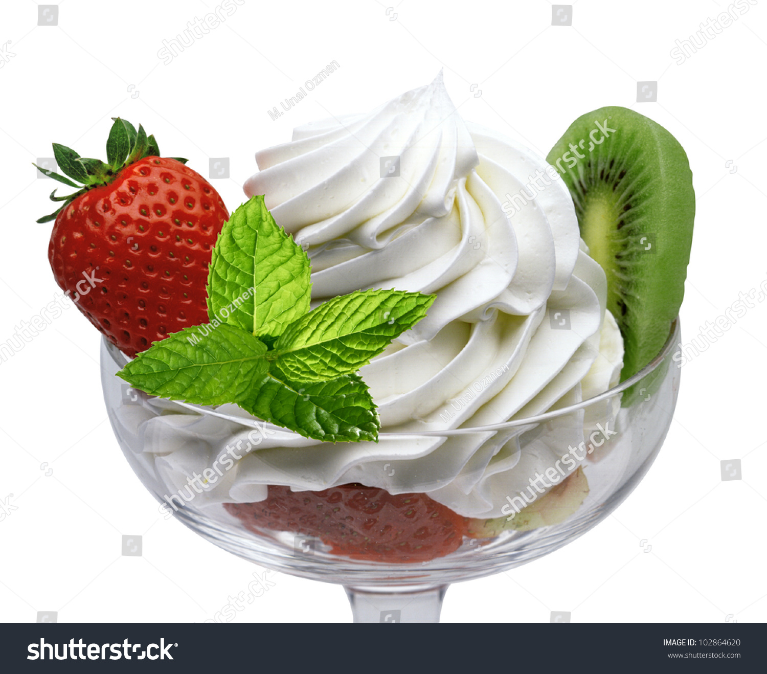 Strawberries And Whipped Cream Bowl Whipped Ice Cream Bowl...