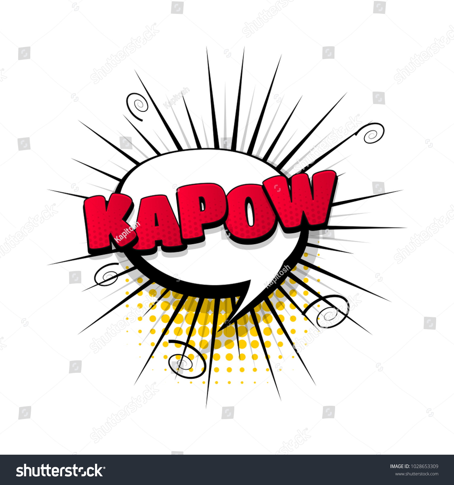 kapow hand drawn pictures effects template stock vector royalty