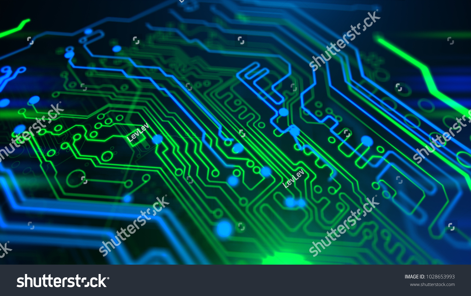 Blue Green Micro Chip Background Digital Stock Illustration Pcb The Printedcircuitboard 3d Royalty Free Photography With Integrated Network Technology Printed Circuit Board