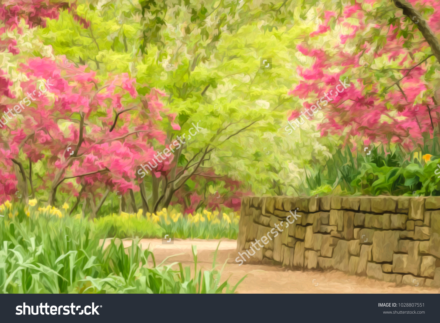 Intersection Garden Paths By Stone Retaining Stock Illustration ...