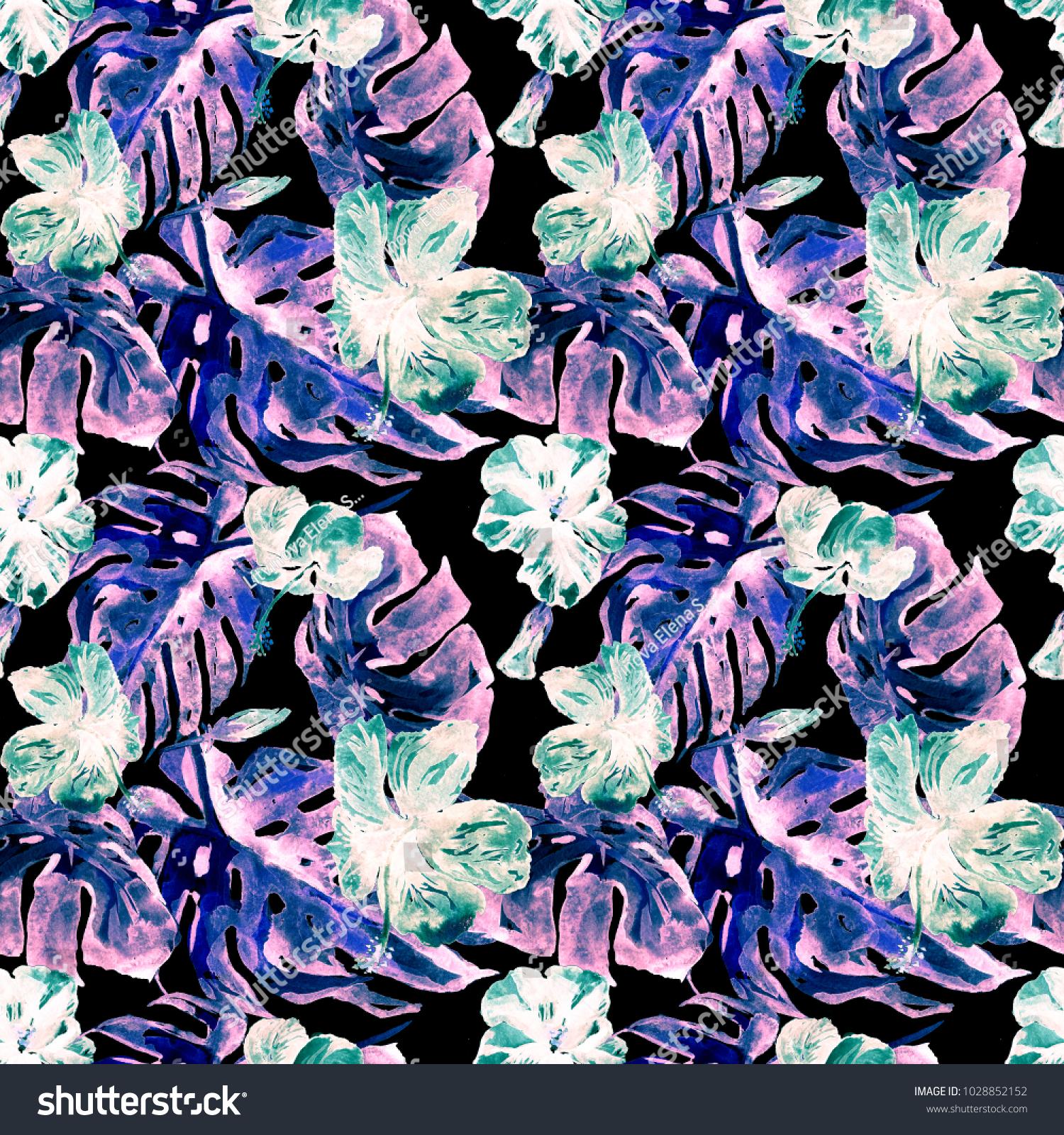 Exotic Flowers Hawaiian Flowers Watercolor Seamless Pattern Hand