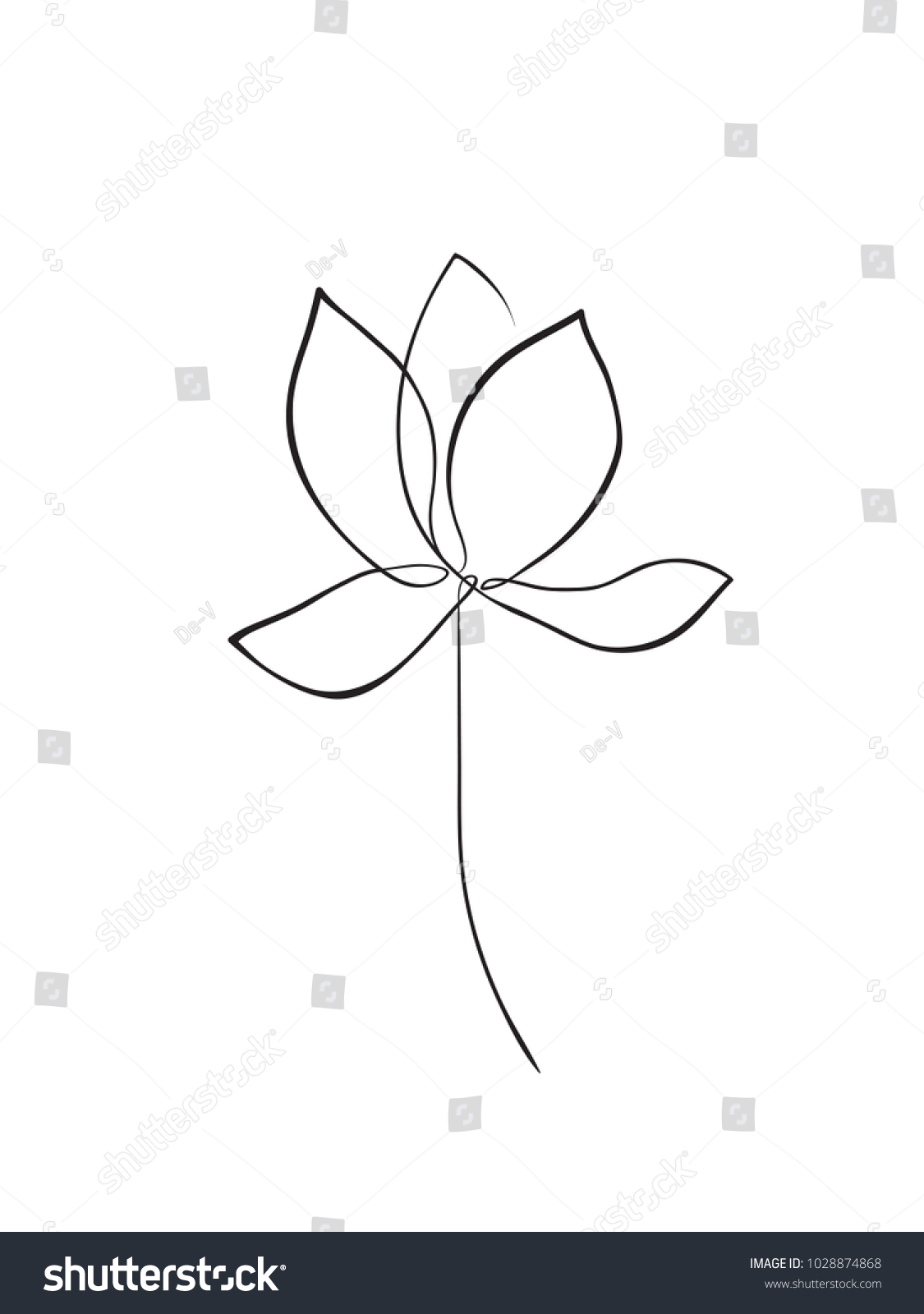 Lotus Flower Line Art Minimalist Contour Stock Vector Royalty Free