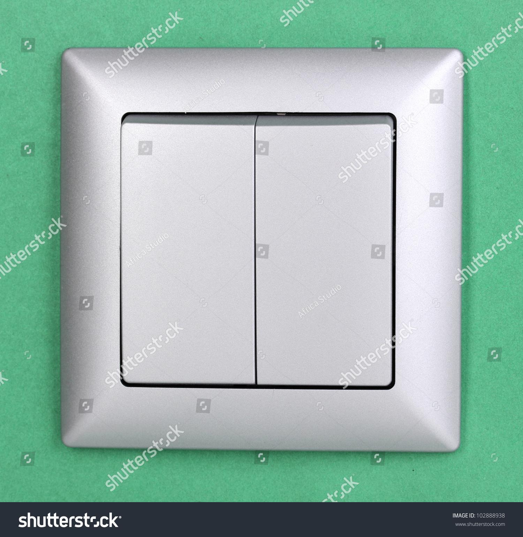 Modern Light Switch Green Background Stock