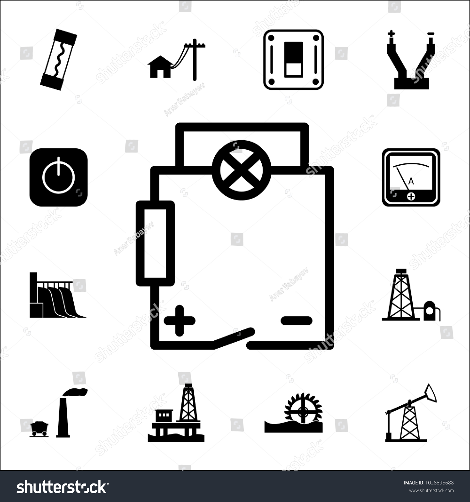 Electrical Circuit Icon Set Energy Icons Stock Vector 1028895688 ...