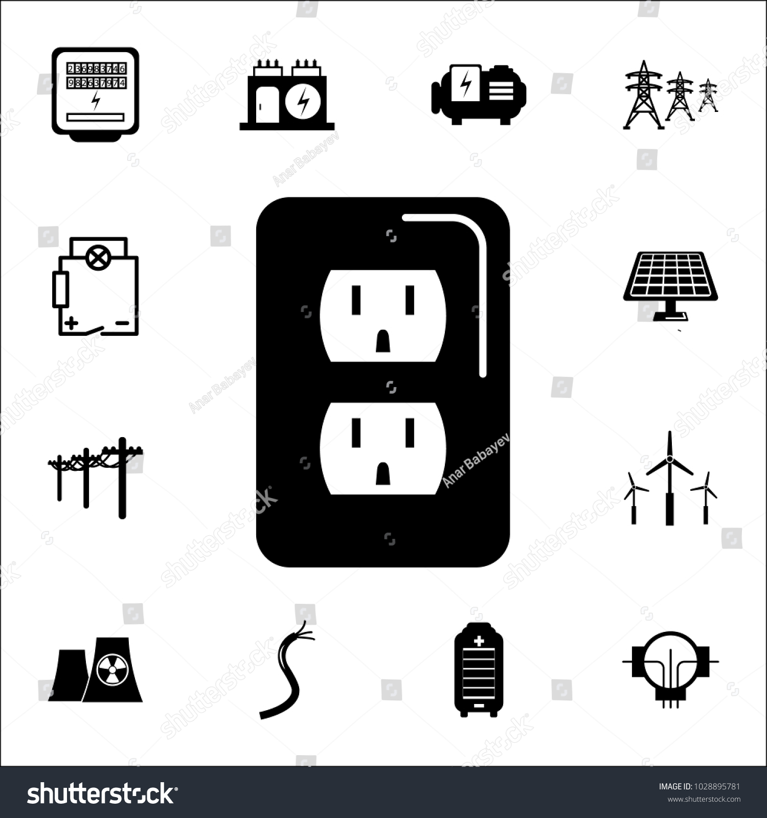 Electric Meter Icon Set Energy Icons Stock Vector 1028895781 ...