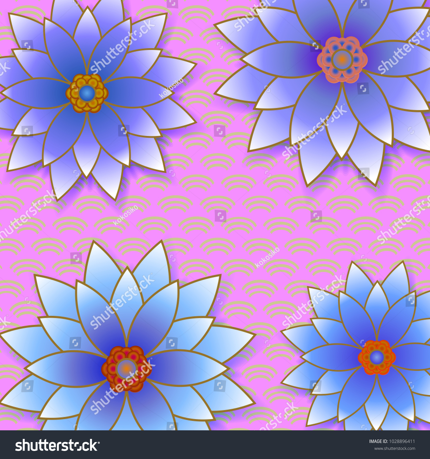 Beautiful Floral Trendy Background Blue Flowers Stock Vector
