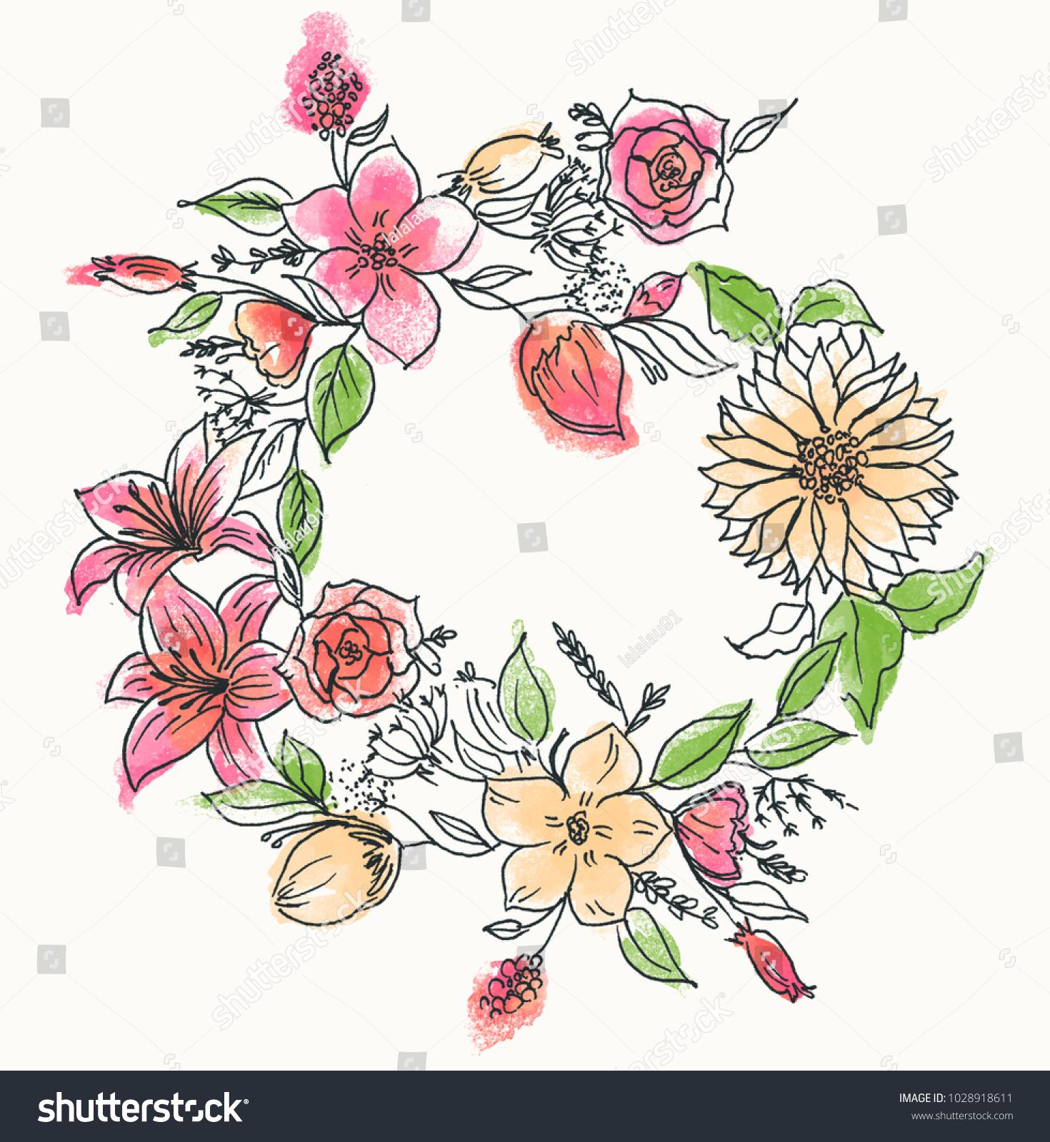 Flower Crown Watercolour Illustration Stock Illustration 1028918611