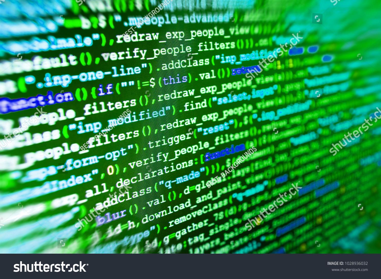 Abstract Computer Script Code Software Development Stock Photo (Edit