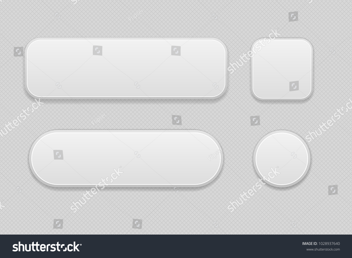White set of buttons on gray background. Oval, round and square web 3d icons. Vector illustration #1028937640