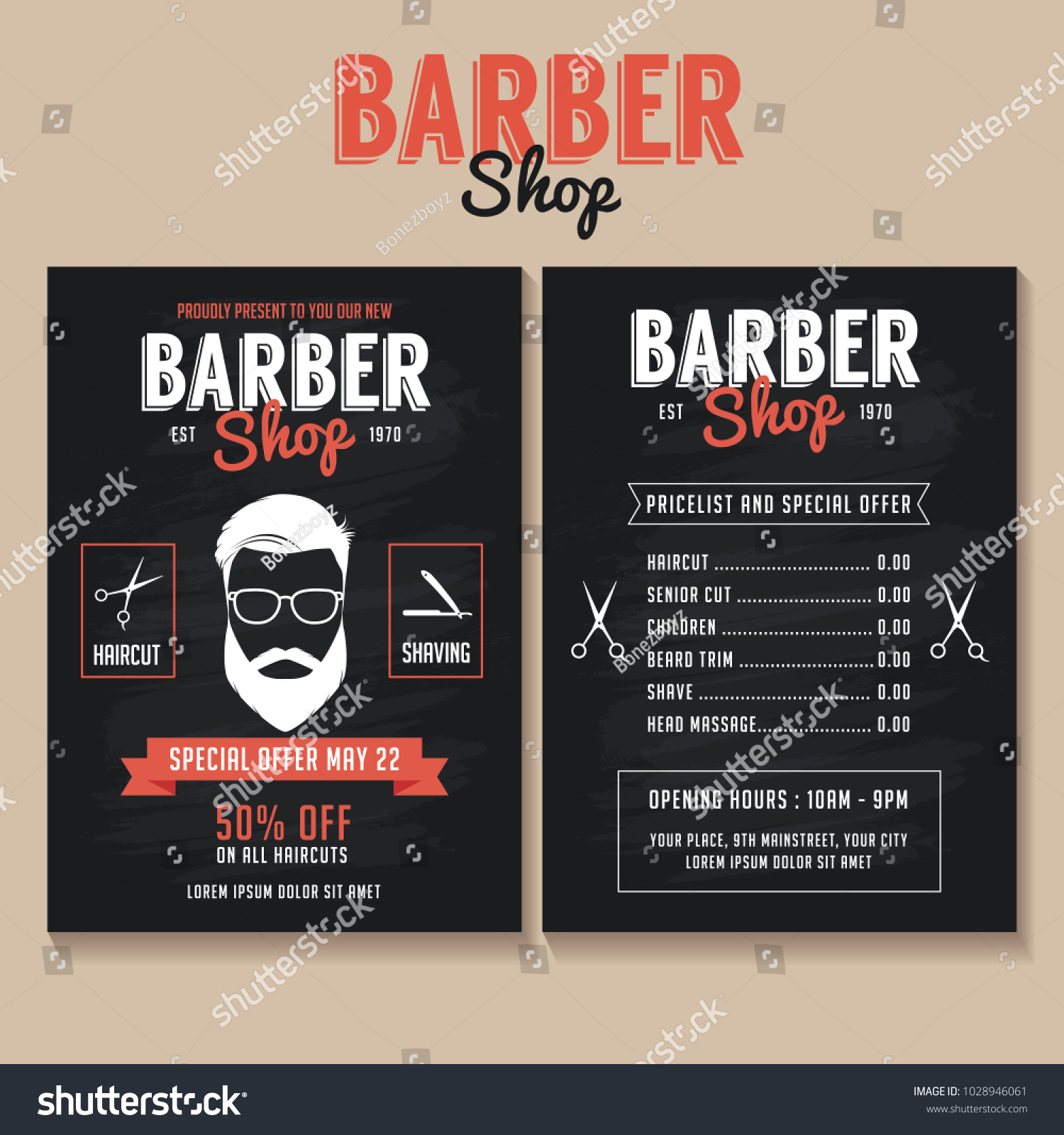 Barber Shop Flyer Template Price List Stock Vector Royalty Free