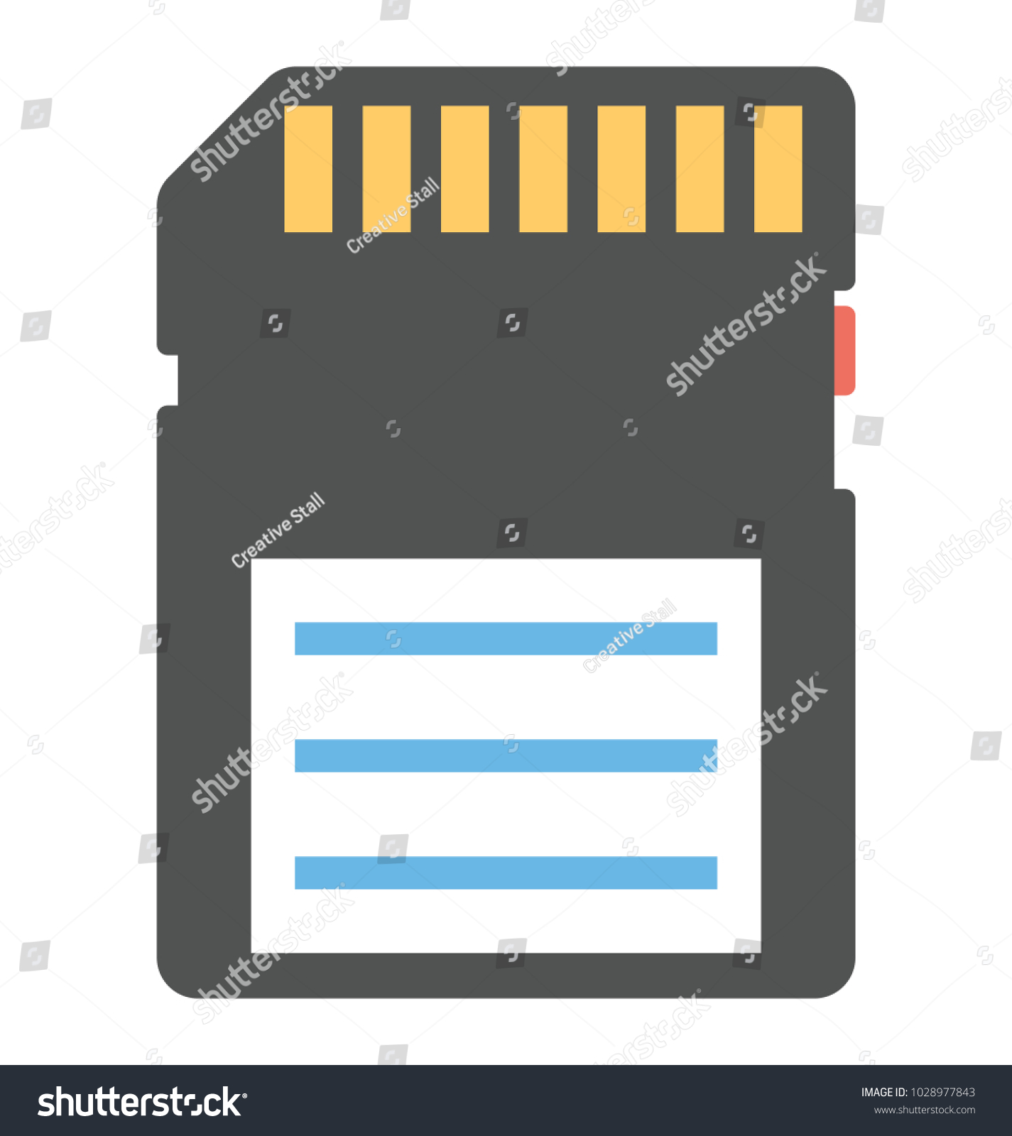 Sd card memory storage flat icon stock vector 1028977843 a sd card for memory storage flat icon pooptronica Choice Image
