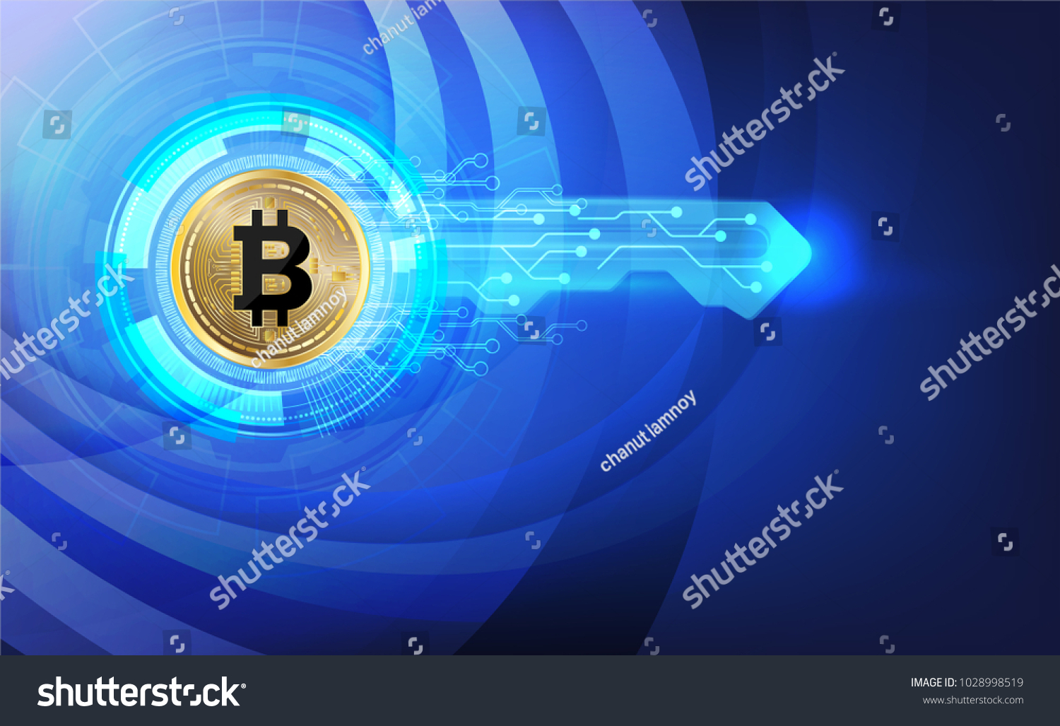 Abstract Technology Bitcoin Logo Key Icon Stock Vector Royalty Free Design Circuits Online And With Wheel Circuitsvector Illustration Mining
