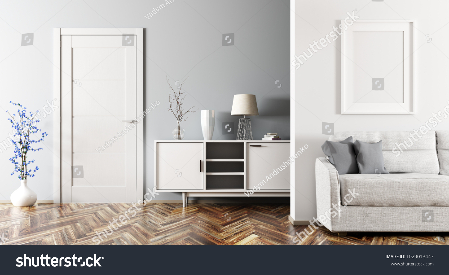Modern interior of living room with sofa, cabinet and door 3d ...