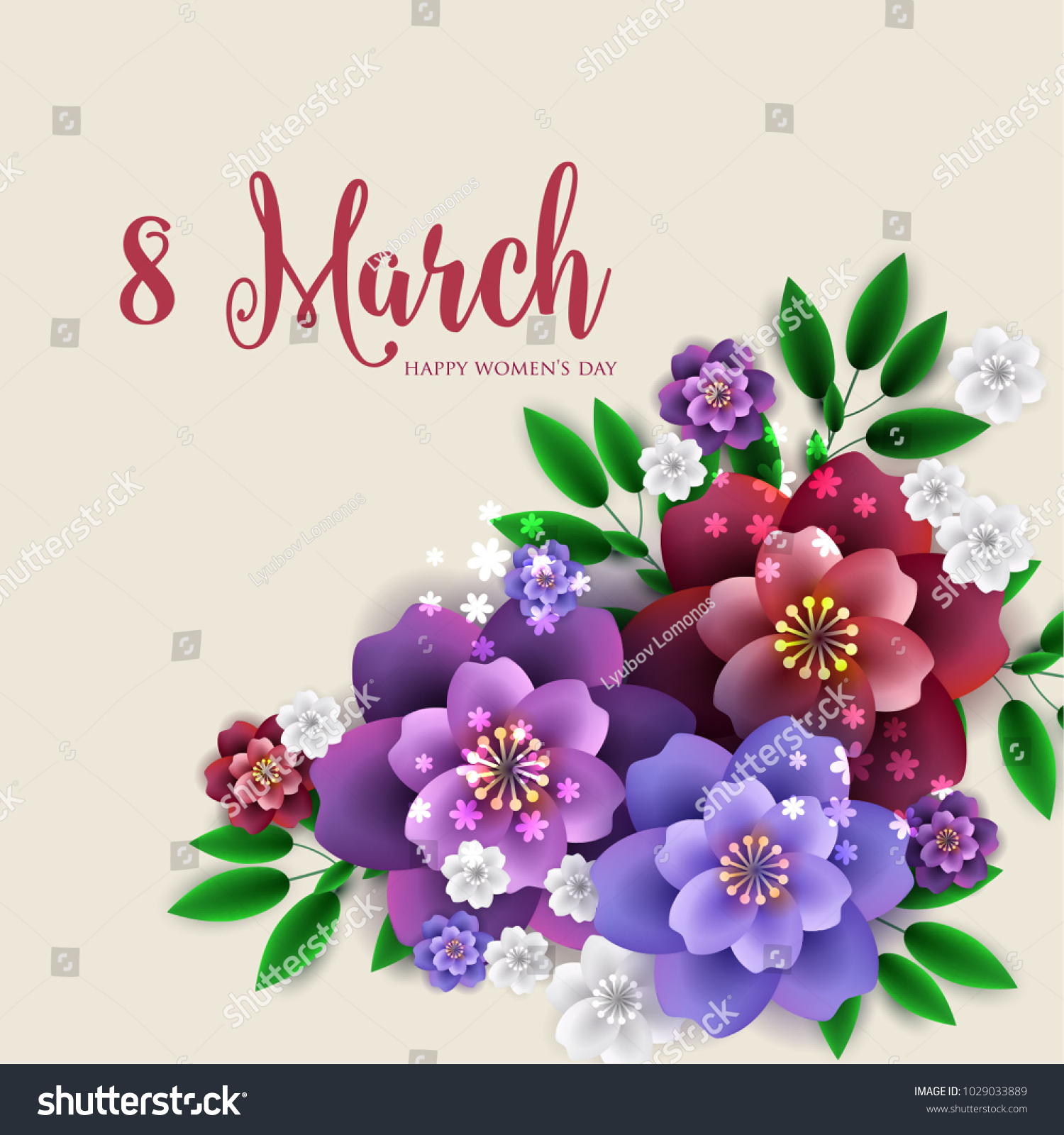 8 March Happy Womens Day Wishes Stock Vector Royalty Free