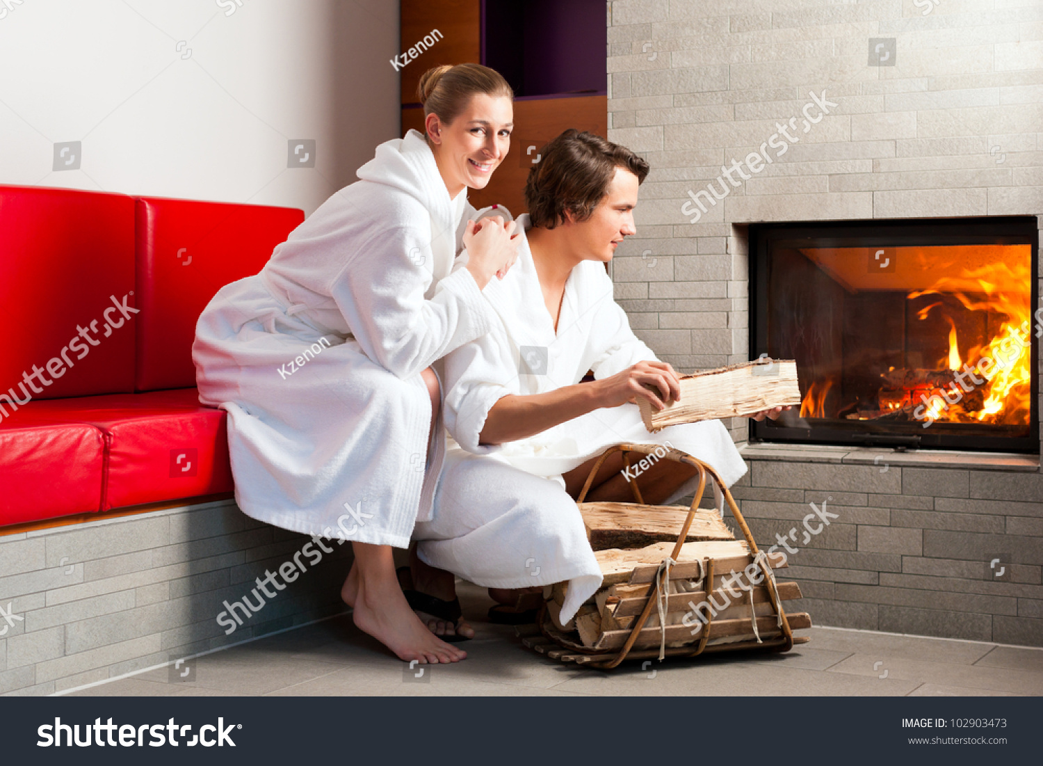 20e087656d Young Couple Sitting Bathrobe Open Fireplace Stock Photo (Edit Now ...