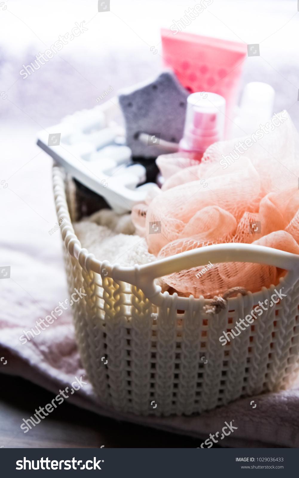 Bathroom Set Cosmetics Basket Washcloth Pumice Stock Photo Edit Now 1029036433