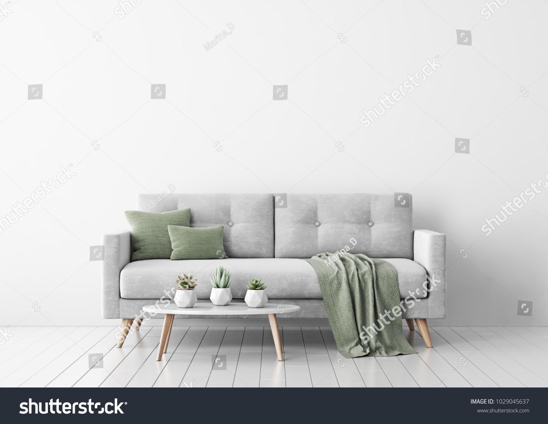 Living Room Interior Gray Velvet Sofa Stock Illustration 1029045637 ...
