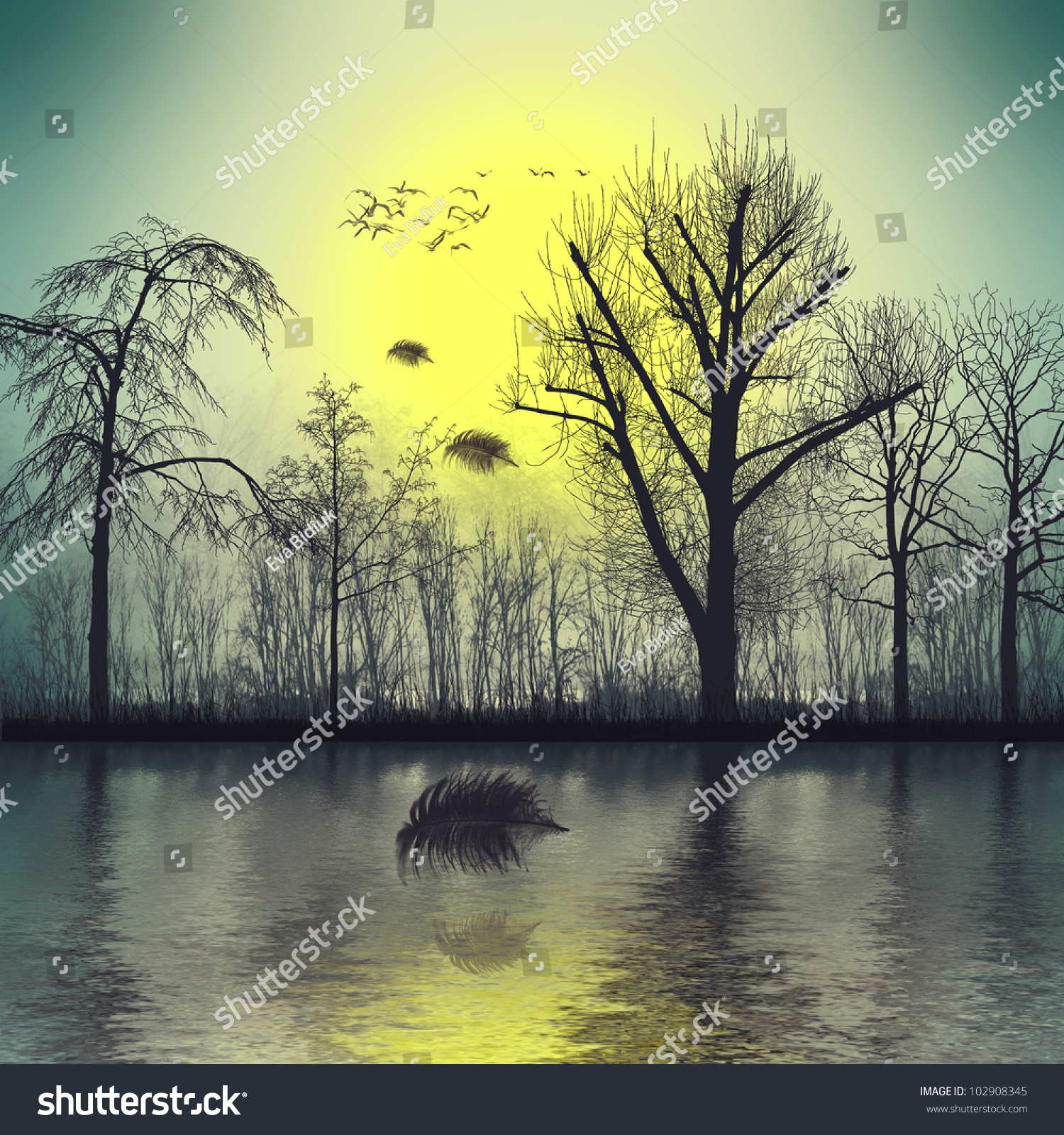 Beautiful Landscape (The Birds Fly Away) Stock Photo