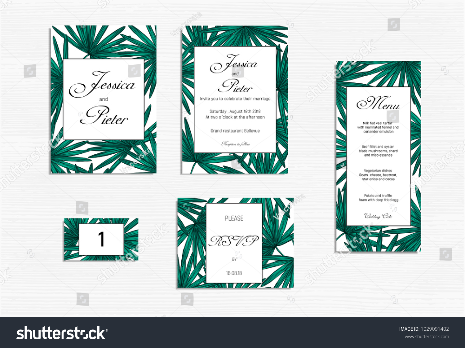 Wedding Invitations Set Mockup Tropical Design Stock Vector - Wedding invitation templates: wedding place card size